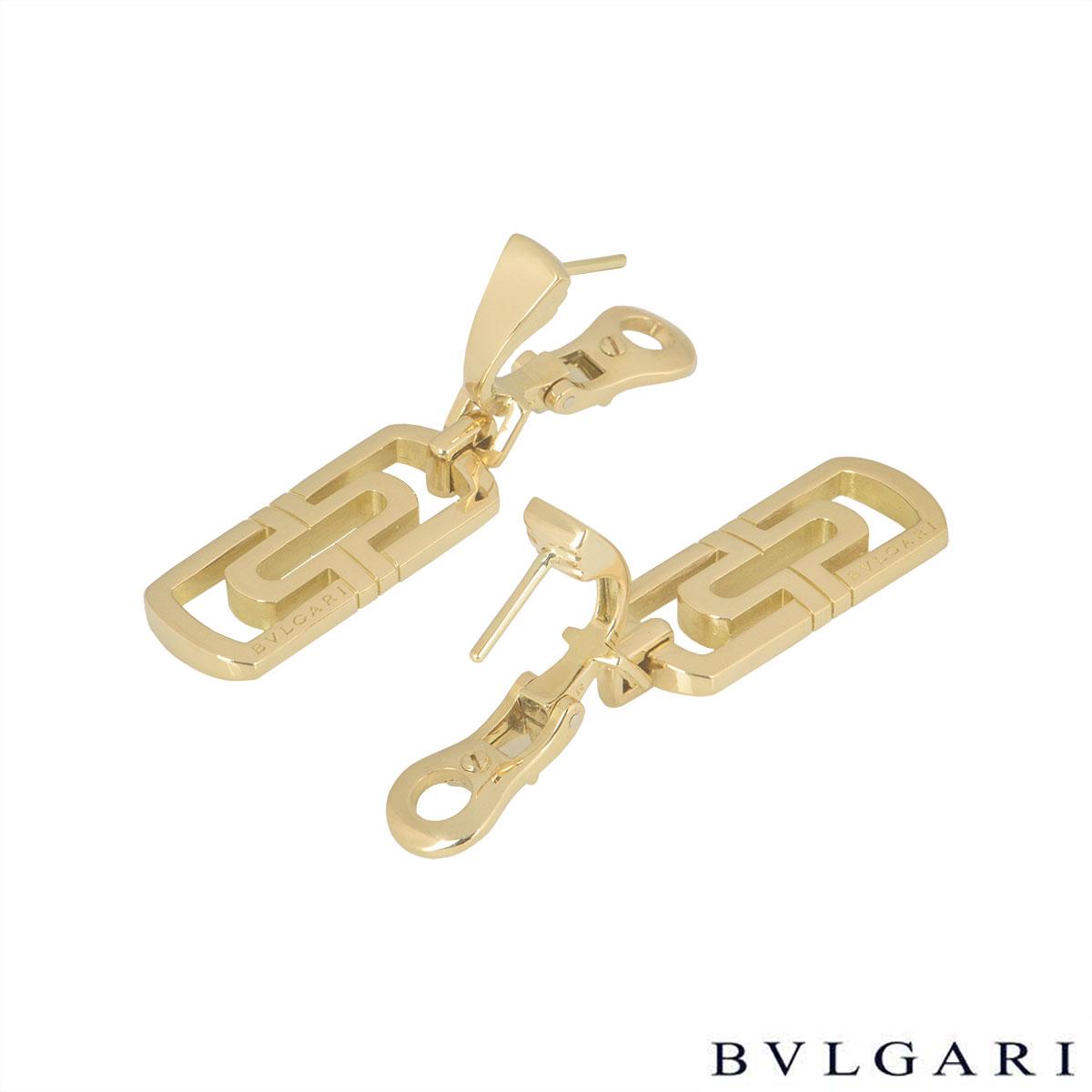 Bvlgari Yellow Gold Parentesi Drop Earrings
